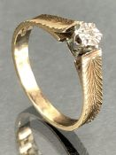 9ct Gold hallmarked ring size 'N' with illusion set diamond (total weight 2.2g)