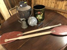 Collection of vintage items to include a pair of wooden oars, metal milk churn, buoy, pint jug etc