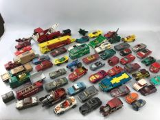Large collection of Matchbox and Corgi vehicles to include and cars and commercial vehicles - play