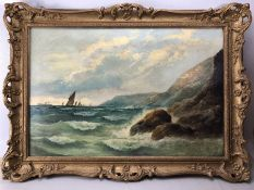 Gilt framed oil on canvas of a seascape, signed and dated lower right, W Richards, approx 75cm x