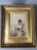 Watercolour of a young girl, indistinct signature lower right, approx 16cm x 24cm (inside mount), in