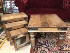 Mexican pine square coffee table along with a next of three occasional Mexican pine tables