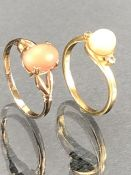 9ct Gold ring size 'K' with pink coloured stone and 18ct gold ring size 'J' set with diamonds to