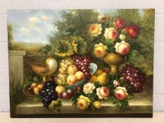 Large contemporary still life oil on canvas, approx 116cm x 87cm