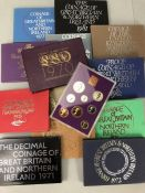 Thirteen consecutive sets of Royal Mint United Kingdom Proof Collection cased Coin sets 1970 - 1982