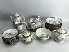 Part Chinese fine porcelain tea set with red Chinese marks to base decorated with birds and