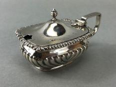 Hallmarked Silver Mustard Pot with Blue Glass liner Birmingham 1904