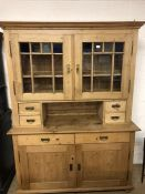 Large pine kitchen dresser with glazed doors, drawers and cupboards under, approx 150cm wide x 207cm