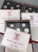 Three sets of Royal Mint United Kingdom Proof Collection leather bound Coin sets 1985, 1986 & 1987