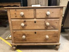Antique pine chest of four drawers on turned feet, approx 100cm x 46cm x 85cm tall