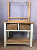 Free standing pine kitchen unit / butchers block with basket drawers, slatted shelf under and