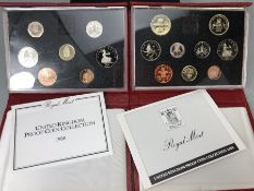 Two sets of Royal Mint United Kingdom Proof Collection leather bound Coin sets 1989 & 1988