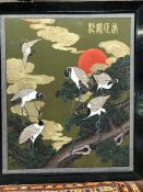 Large Chinese painting of Cranes at sunset with raised gold detailing on wings, approx 80cm x 95cm