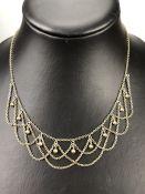 Edwardian Gold Plated Gilt Fringe Necklace