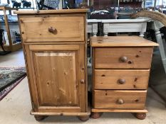 Single pine bedside cupboard with single drawer and a low pine bedside/chest of three drawers