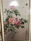 Large framed Chinese Silk depicting Chrysanthemums and butterflies, approx 133cm x 85cm