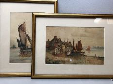 Two Watercolour paintings of working sailing boats both signed 'GS'