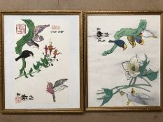 Two Chinese watercolours depicting birds and signed, approx 50cm x 40cm