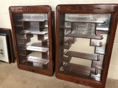 Pair of Oriental style glass fronted, mirrored back display cabinets, each approx 71cm x 46cm
