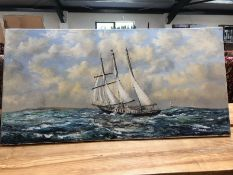 20th Century English school, unframed oil on canvas of a ship in full sail, signed KEEL, dated '