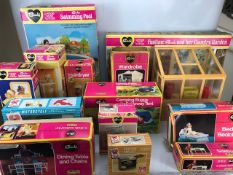 Large collection of boxed Sindy toys, including Swimming pool, Country Garden, Wardrobe, Hostess