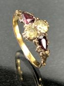Unmarked Gold four stone ring size 'O'