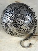 White metal Chinese ball incense burner, approx 6cm in height