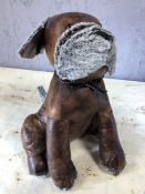 Leather doorstop in the form of a dog, approx 33cm in height