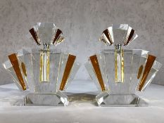 Pair of large amber coloured Art Deco style glass scent bottles, each approx 23cm in height