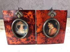 Pair of framed miniatures of a man and a woman, approx 12cm x 10cm