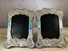 Pair of enamelled silver butterfly frames, approx 21cm x 16cm