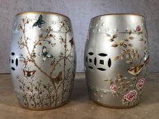Pair of silver coloured porcelain barrel seats / stools, approx 46cm in height