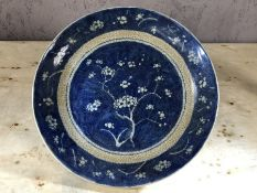Chinese blue and white plate, approx 28cm in diameter