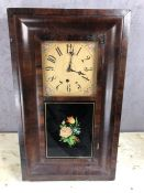 American style wooden cased wall clock, approx 66cm x 39cm x 10cm