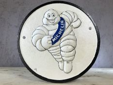 Vintage style metal advertising sign for Michelin, approx 25cm in diameter