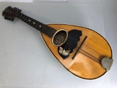 Wooden mandolin, approx 63cm in length