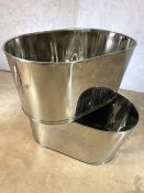 Pair of large champagne buckets with Bolinger and Bonaparte inscriptions, approx 65cm x 38cm x