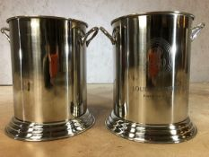 Pair of champagne / wine coolers marked Louis Roederer, approx 25cm in height