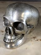 Ornamental white metal skull, approx 10cm in height