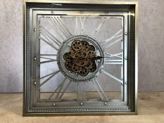 Large square modern wall clock with gear design, approx 80cm x 80cm x 10.5cm