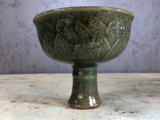 Green celadon vase / stem cup, approx 12cm in height