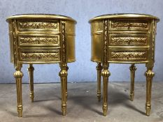 Pair of gilt bedside tables with three drawers and marble tops, approx 68cm in height