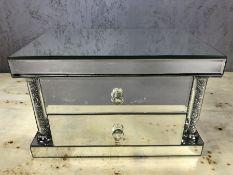 Large mirrored jewellery box, approx 31cm x 19cm x 20cm deep