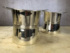 Pair of silver plated top hat wine coolers, approx 16cm in height