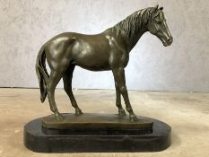 Bronze figure of a horse on plinth, approx 29cm in height