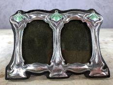 Double enamelled silver Art Nouveau style photo frame, approx 11cm x 8cm