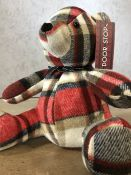 Tartan doorstop in the form of a bear, approx 33cm in height