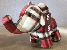 Tartan doorstop in the form of an elephant, approx 29cm in height
