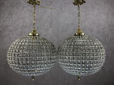 Pair of medium ball shaped chandeliers with beaded design, drop approx 50cm