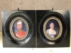 Pair of framed miniatures of a man and a woman, approx 10cm x 11cm
